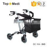 China suppliers TOPMEDI Rehabilitation Therapy Supplies lightweight 4 wheel folding rollator walker