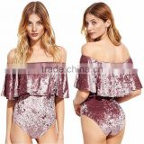 Clothing Custom Bulk Sexy Women's Slim Swim Wear Off The Shoulder Overlay Stretchy Short Sleeve Ruffle Crushed Velvet Bodysuit