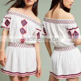 Fashion Ladies Off-The-Shoulder Embroidered Dress With Pictures New Model Girl Bohemian DressHSd5207