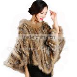 CX-B-95B Wholesale Instant Cape For Women/ Hooded Rabbit & Raccoon Fur Cheap Winter Shawl