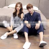 the couple wave point kimono long sleeve knit cotton pajamas male ladies leisure belt cardigan household to take