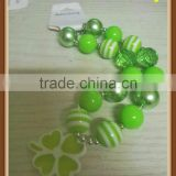 2014 Wholesale Cheap Jewelry Statement Necklace In Ireland Resin Flower Necklace For Toddler St. Patrick's Day