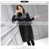 Ladies' Winter Long Genuine Leather Jacket Imitation Leather Jacket With Front Zipper Sleeve Badage