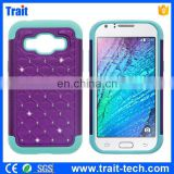 2015 Shenzhen Factory Diamond Silicone+ PC Back Case for Samsung Galaxy J1 J100