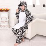 Zebra Cartoon Flannel Conjoined Polyester Pajamas