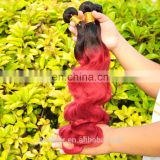 Ombre Hair Extensions Brazilian Virgin Hair Body Wave T1B/Burgundy Human Hair colored two tone
