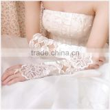 Instyles Wedding Bride Party Flower Pearl Lace Stretch Satin Long Fingerless Gloves Ivory