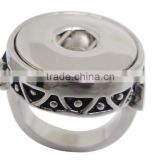 Fashion alloy finger ring snap button jewelry