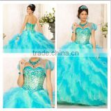 2014 New Arrival Sweetheart Ball Gown Beaded Ruffled Quinceanera Dress with Detachable Skirt