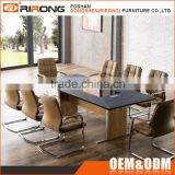 Luxury office furniture decoration black tempered glass top leather cover conference room table with power outlet