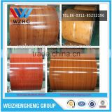 Wood grain design ppgi/color coated steel coil for wall panel and decorating the house made in China
