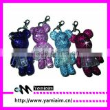 Rhinestone Embellished Little Bear Design Keychain, Fuchsia