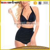 Pure black halter women swimwear sexy fashion retro high waist bikini