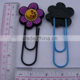 custom funny stainless steel paper clip with cute flower logo
