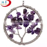Purple Color Wire Wrapped Amethyst Family Tree Necklace Pendant and Charms