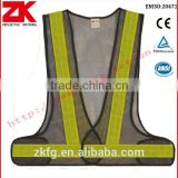 EN471 luminous mesh black safety vest with reflective tape