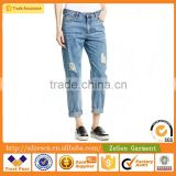 Wholesale OEM Custom Factory Clothes Women Boyfriend Jeans Apparel Jeans Wholesale In GuangZhou