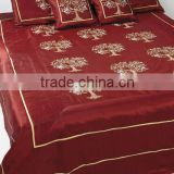Luxury Indian Decorative silk bedding silk Embroidered Bedding set with 2 pillow and 2 cushion covers