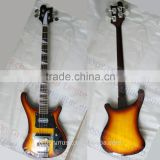 4 string Rik solid basswood electric bass guitar with sunburst colour