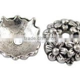 Tibetan Silver Bead Cap, Lead Free, about 11mm in diameter, 3.5mm thick, hole: 2mm (LF1650Y)