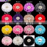 15COLORS 10CM Beaded Chiffon Flower Pearl Rhinestone Chiffon Ruffled Flower Flat Back For Baby Girls Hair Accessories,YDKM19