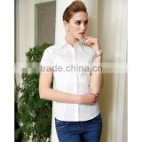 Womens Tailored Plus Size Short Sleeve Button Down Shirt Manufacturer White Blouse with Stretch