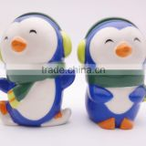 Custom funny Christmas penguin ceramic salt and pepper shaker