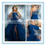 Hot Sale Blue Side Slit One-Shoulder Evening Dresses (EVMA-1014)