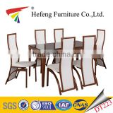 metal frame wood surface luxury tempered glass dining table, heavy-duty metal glass dining table and chairs
