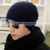 Winter Casual Cotton Knit Hats For Women Men Baggy Beanie Hat Crochet Slouchy Oversized Ski Cap