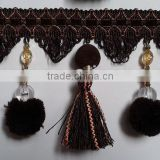 Pompon Fabric Tassel ball Fringe lace ,polyester fringe for curtain sofa decor