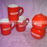 red glazing with golden line, nescafe ceramic cup