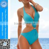 Factory direct sales!!! Yiwu Domi One piece metal jewel solid blue sexy girls bikini monokini swimsuit