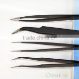 2PCS Black Color Metal Tweezer Elbow Straignt Style Picking Up Beads Nail Sticker Manicure Tool