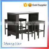 promotional price overstock exotic design outdoor wicker patio rattan bar stool table chair set