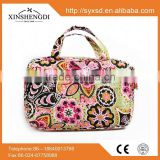2016 wholesale bright tote zipper casual womens 100% cotton quilted beach toilet bag