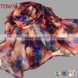100% Polyster Chiffon Stole Scarf and Shawls for Sexy Ladies Girls Women Floral Check Printed Pattern