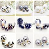 Fashion Jewelry Celebrity Runway Double Big Pearl Plug Earrings Ear Studs New