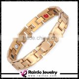 Jewelry Double Row Elements 4 in 1 Germanium Ion Far Infrared Magnetic Bracelet Wholesale