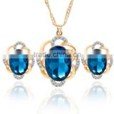 Online shop blue zircon stone necklace set crystal earring jewelry gold plated