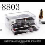 Wholesale 3 tiers drawers acrylic drawer storage organizer and acrylic cube makeup organizer