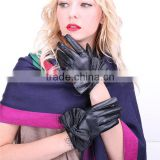 Wholesale real women touch screen Black leather gloves with big bow