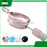 2 in 1 double interface compatible fast quick charger round usb telescopic data cable for iphone and Android mobile cell phone