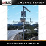 Pole Mount Radar Speed Signs / Portable Traffic Flashing Speed Limit Signs LED Warning Sign Powered Solar Radar Speed Sign
