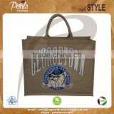 PP Laminated jute tote bag with padded rope handle & pocket on back of bag with velcro closure & with heat transfer print
