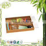Aonong Djustable Bamboo Drawer Organizer with Acrylic Slide Cover