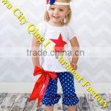 4th of July Little Miss Firecracker Star Spangled Capri Pant Set with Top and Double Ruffle Pants Red Star Appliqued Girls Tee