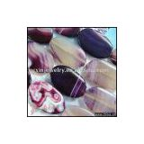 YSS240 Natural purple stripes agate oval beads strand16