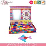 Square cardboard kids puzzle toy box with PVC window