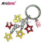 Customize metal spinner letter r flower star keychain projector for kids